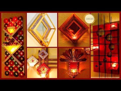 5 Unique Wall Hanging with Light holder|gadac diy|home decorating ideas|diy crafts|Diwali decoration