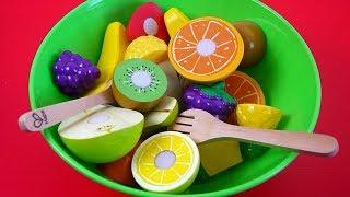 Impara i Nomi della Frutta Giocando! Macedonia di Frutta - Set di Giocattoli con Velcro da Tagliare