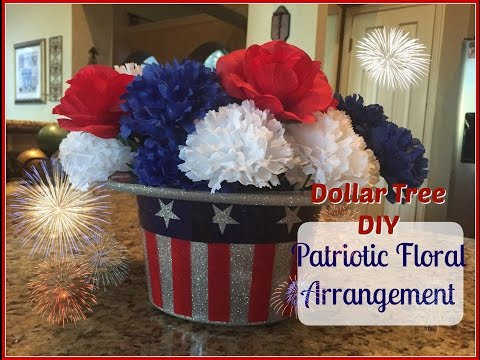 DOLLAR TREE DIY : Patriotic Floral | 4th Of July Decor