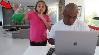 SLIME PRANK ON MY DAD!!