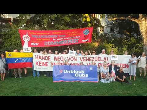 Solidaritätsadresse 24.8.19 #NoMoreTrump #NoMasTrump #DKP Sommerfest Berlin #HaendewegvonVenezuela