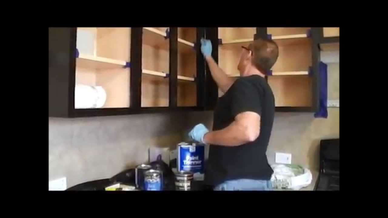 How to gel stain kitchen cabinets youtube for Can i stain my kitchen cabinets darker