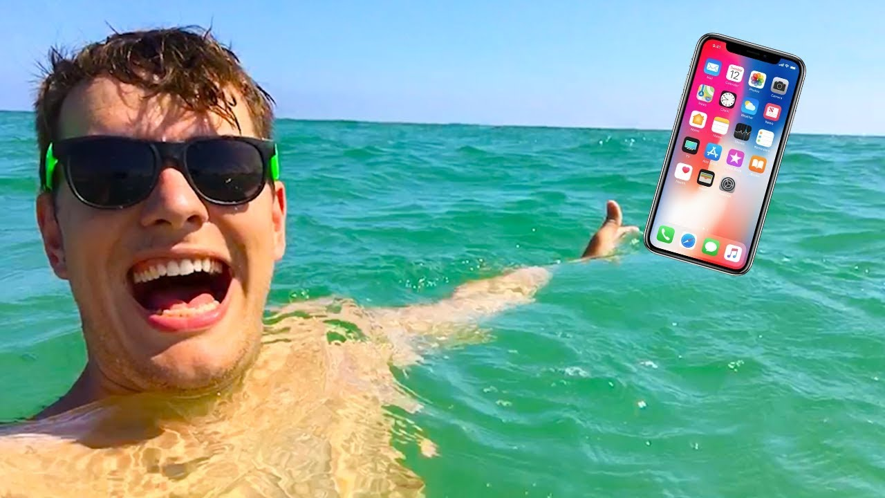 online store 6a40c 06ba6 SWIMMING WITH IPHONE IN THE OCEAN!!! iPhone X in Water   Beach Vlog + Sick  Drone Footage   FRANKIETV