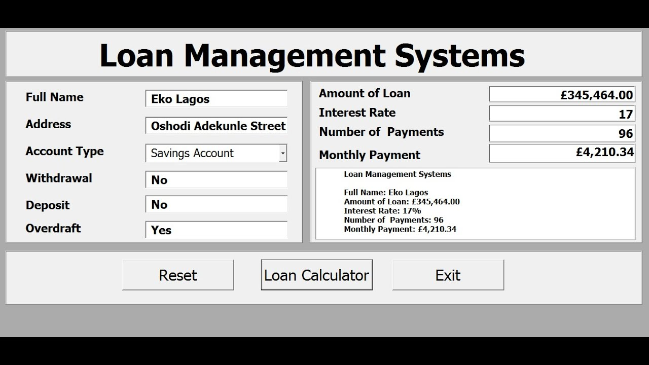 How To Create Loan Management Systems With Excel Vba