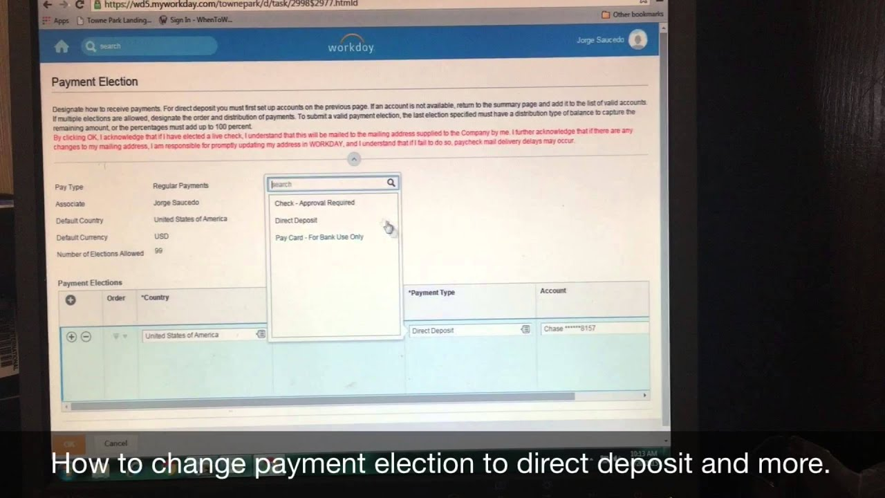 Workday Payment Election Tutorial