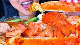 ASMR Bloves Smackalicious Sauce Seafood Boil (King Crab, Lobster, Shrimp) Eating Sounds NO TALKING