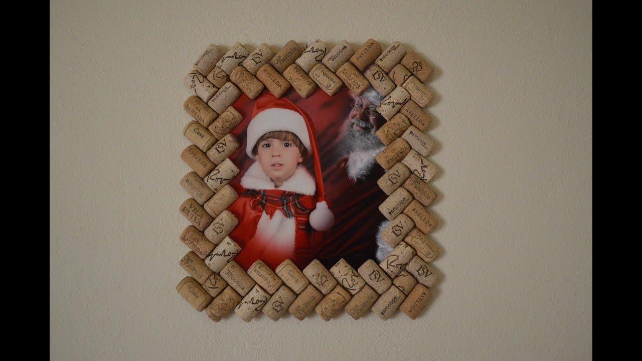 How to make photo frame with corks como hacer porta - Con idea de manualidades ...