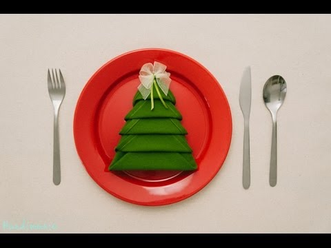 Christmas Tree Napkin Folding Tutorial # HOW TO | Handimania DIY - �� Christmas Tree Napkin Folding Tutorial # HOW TO Handimania DIY