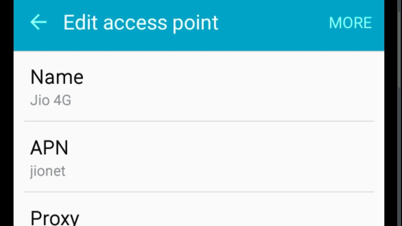 Reliance Jio 4G LTE APN Settings