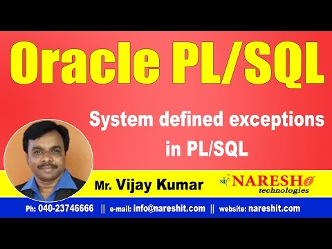 System defined exceptions in PL/SQL | Oracle PL/SQL Tutorial Videos | Mr.Vijay Kumar