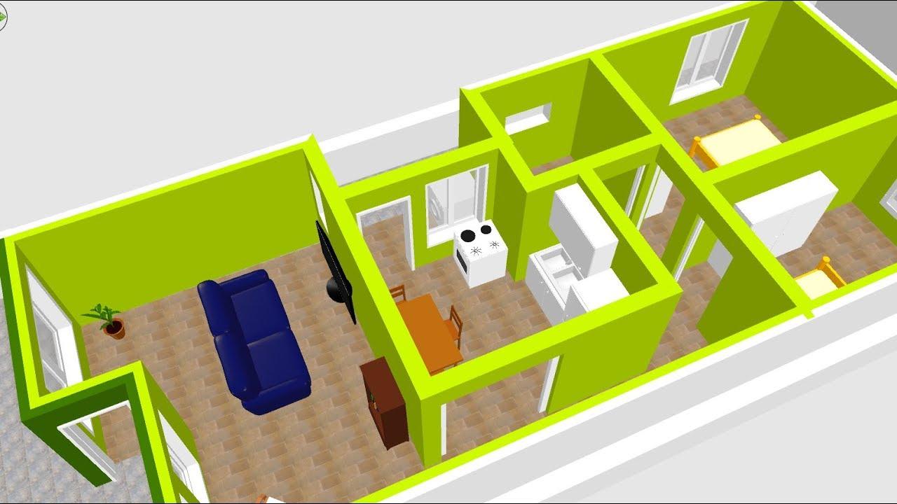 Planta 3d para uma casa pequena terreno 5x15 youtube for Casa minimalista 4 5x15