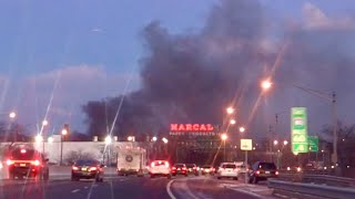 EARLY FOOTAGE of ICONIC MARCAL PAPER MULTIPLE ALARM FIRE ELMWOOD PARK NJ MARCAL FIRE