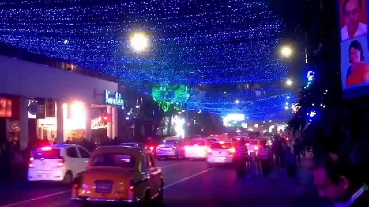Park Street Kolkata During Christmas.Christmas And New Year Celebration In Park Street Kolkata India During Christmas Santa Festival 2014