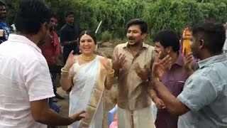 Director Ahmed Makes Fun With Hansika At Manithan Movie Location