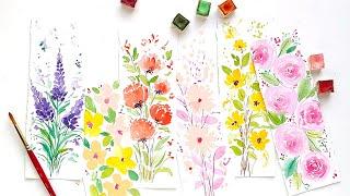 Loose watercolor floral DIY bookmark