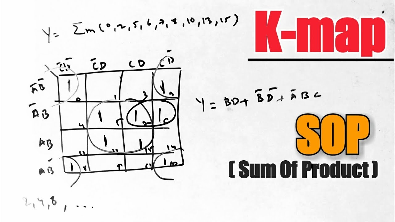 sum of products K-map (karnaugh map) example/problem/numerical in dld