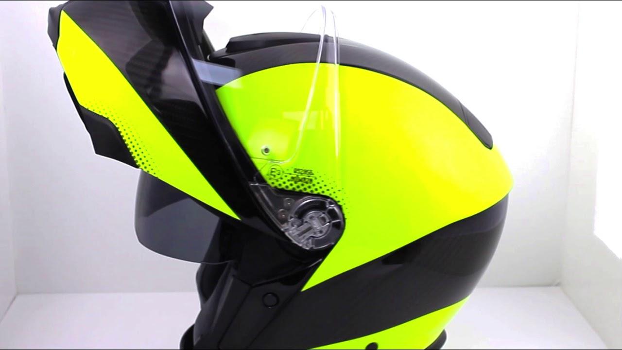 Agv Sports Modular Flip Front Helmet Hi Vis Carbon Yellow Youtube