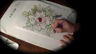 Как рисовать пион в китайском стиле двумя кистями | Chinese painting with two brushes