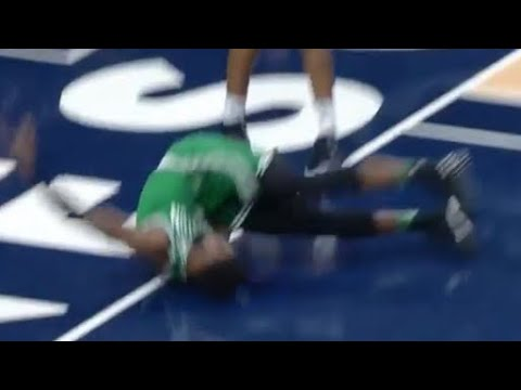 Jaylen Brown SCARY INJURY Celtics vs Timberwolves 03.08.2018