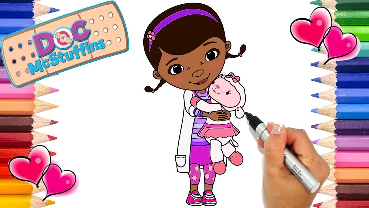 Doc McStuffins and Lambie Coloring Page | Doc McStuffins Coloring ...