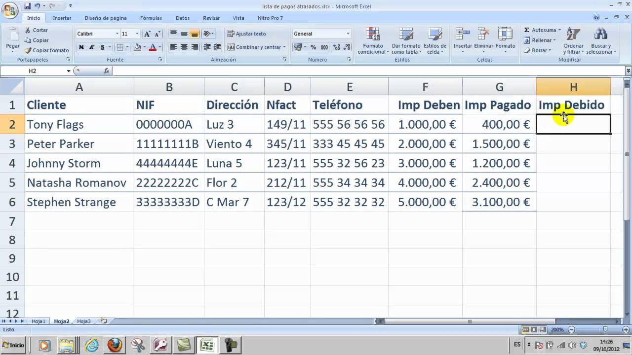 Ofimática Excel 03 Fórmula resta y copiar datos entre hojas ...