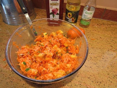 Making Carrot Pineapple Raisin Salad