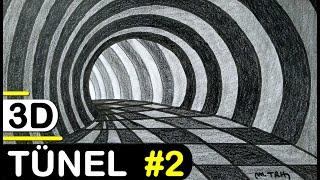 3D TÜNEL ÇİZİMİ 2 - ÜÇ BOYUTLU TÜNEL NASIL ÇİZİLİR? HOW TO DRAW EASY 3D TUNNEL DRAWING