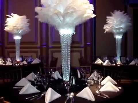 1920 S Gatsby Inspired Ostrich Feather Centerpieces By