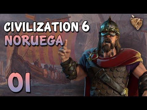 """Civilization 6 Noruega #01 """"Mundo de ilhas"""" - Vamos Jogar Gameplay Português PT-BR"""