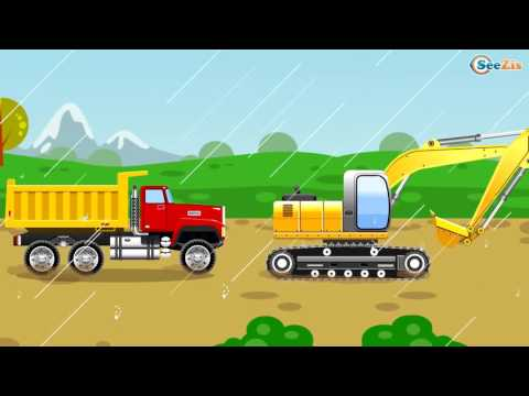 Super Cars & Trucks Construction Cartoons for children - The Yellow Crane and The Truck