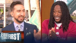 Alvin Kamara talks Brees' future with Saints, 49ers defense | FIRST THINGS FIRST | LIVE FROM MIAMI