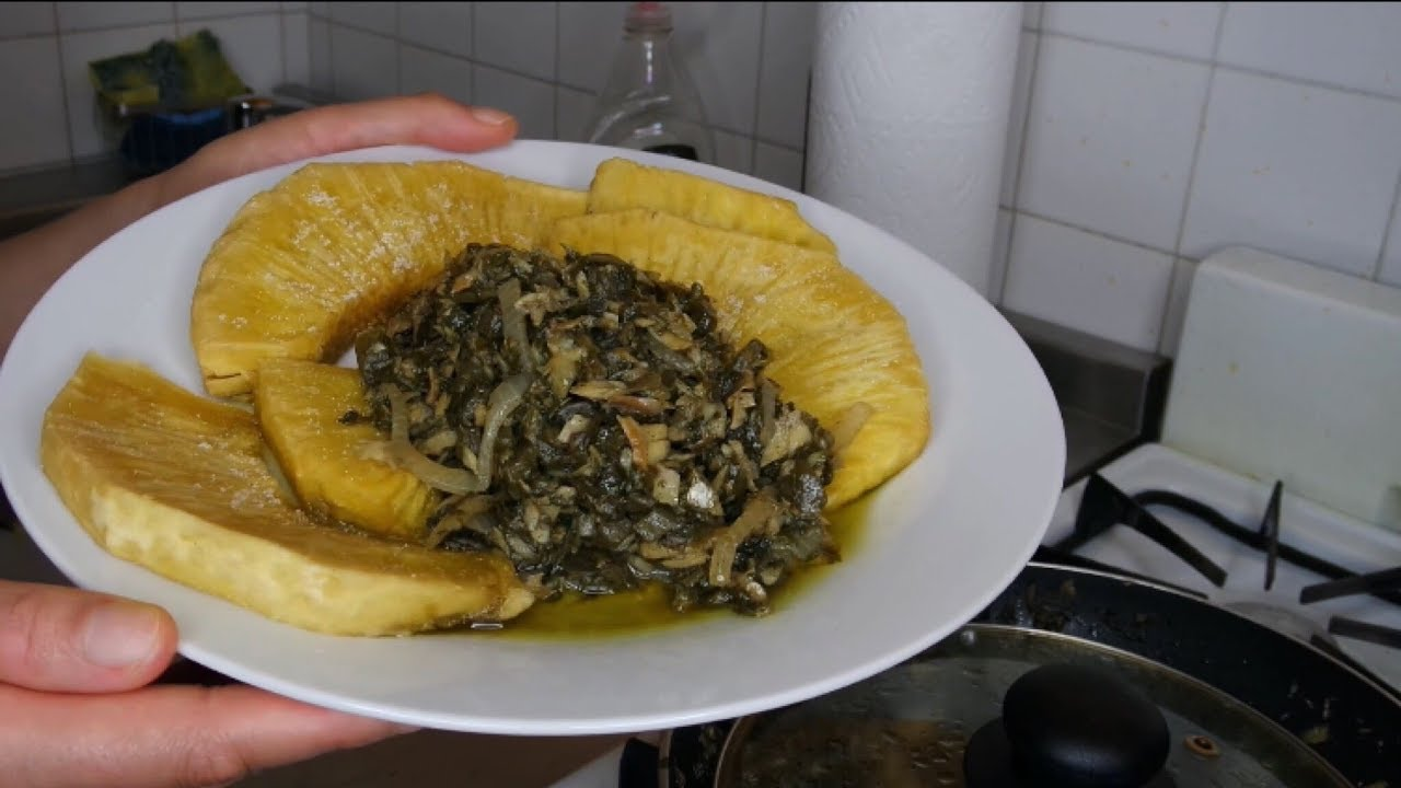 cook with me  callaloo  codfish with fried breadfruit
