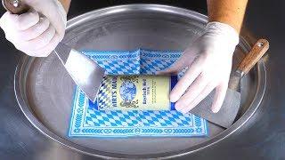 ASMR - German Bavarian Beer Ice Cream Rolls | how to make rolled fried Oktoberfest Ice Cream Food 4k