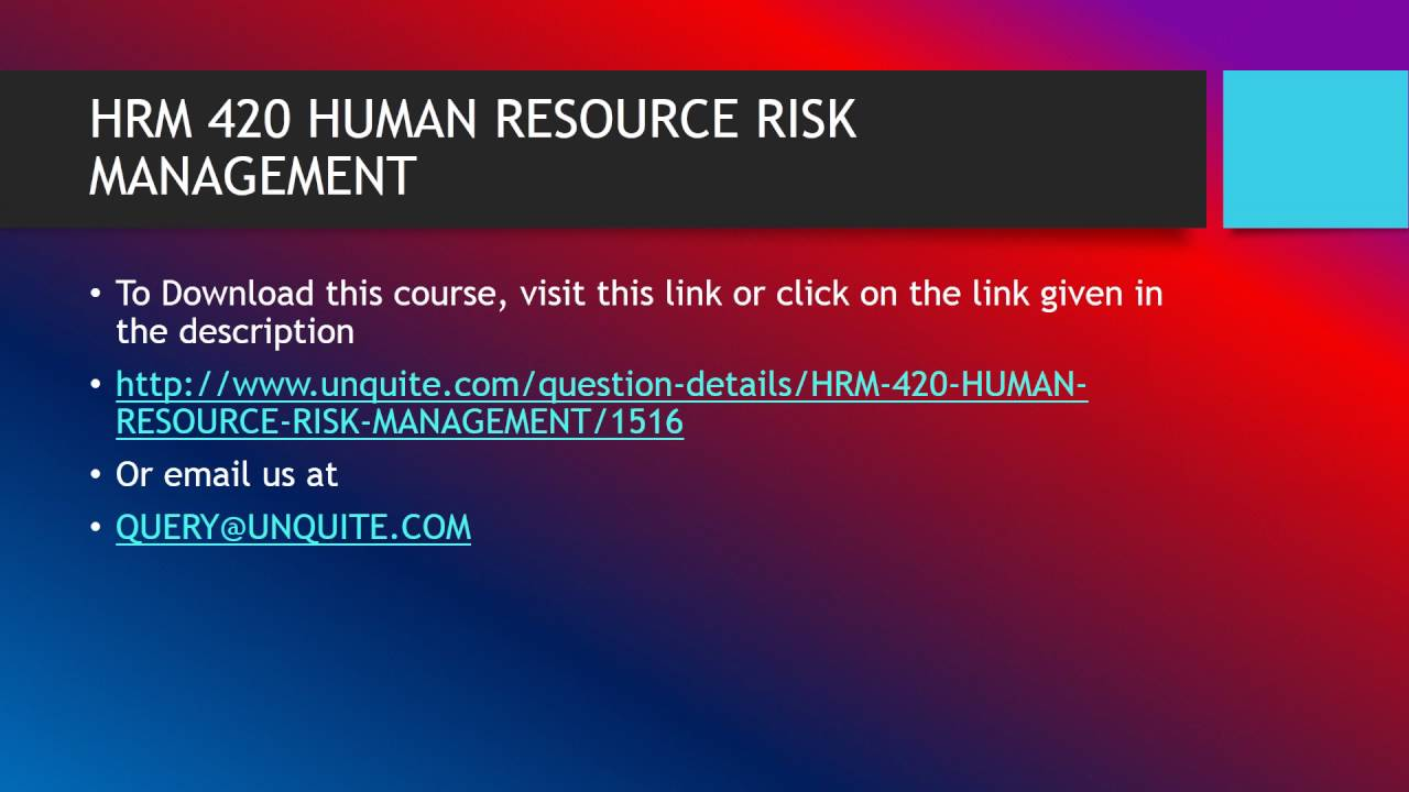 HRM 420 HUMAN RESOURCE RISK MANAGEMENT - YouTube