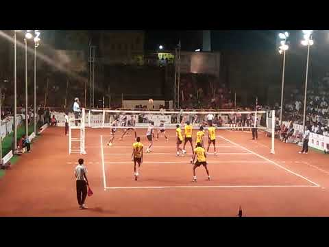karnataka posters vs srm chennai national volleball games in guntur