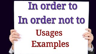 """Spoken English Class in Malayalam """"Uses of In order to"""""""