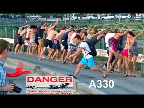 St. Maarten – 1st amazing Jet Blast Challenge -  American Airlines A330  (1. Film of 8)