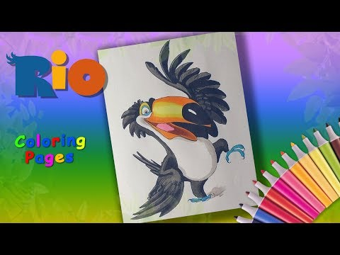 Rio Coloring Book. Toucan Rafael Coloring Pages for Kids