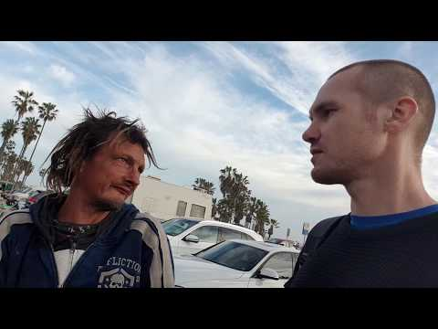 Talk with a homeless writer/poet/person in Venice Beach