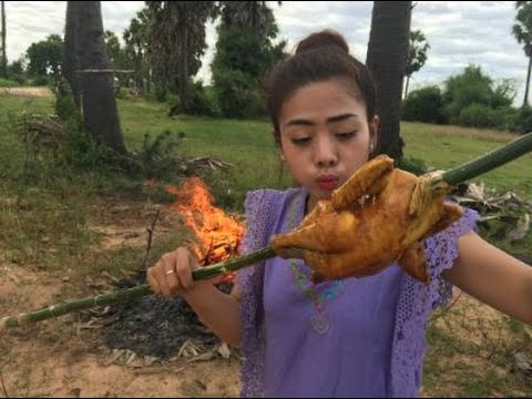 village food factory | how to roasted chicken | traditional food in cambodia