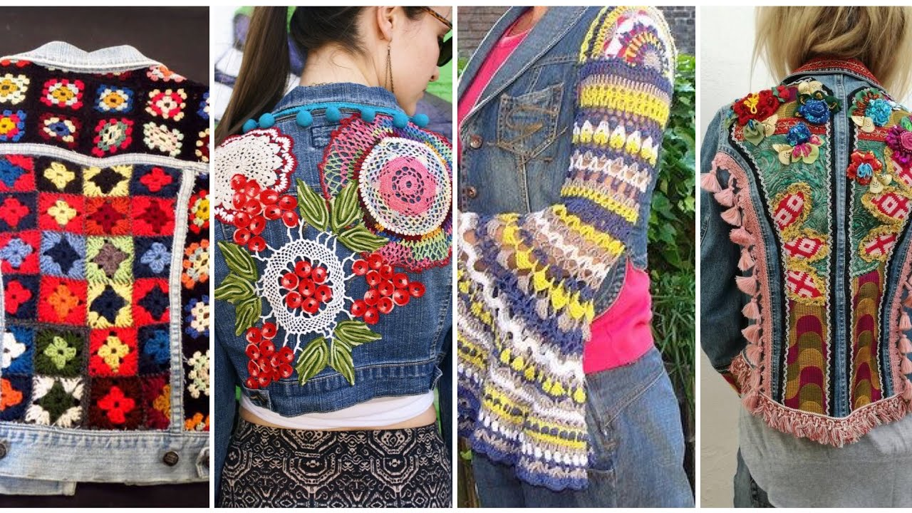 Denim Boho Crochet Work Jackets Denim Embroidery