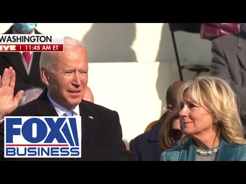 Joe Biden takes oath of office during Inauguration ceremony