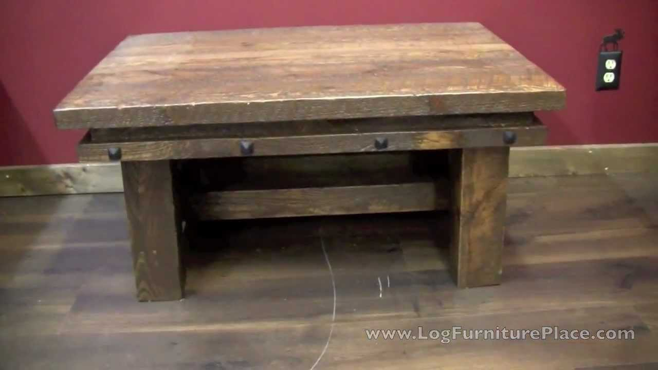 Lonestar Rustic Barnwood Coffee Table With Nailhead Trim From  LogFurniturePlace.com   YouTube