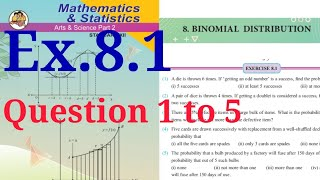 Exercise 8.1,HSC,12th,Binomial Distribution,Maths2,Question 1 to 5,state board,new syllabus, 2020-21