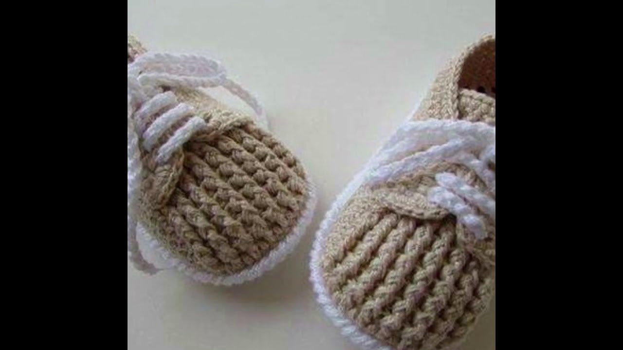 3083d5fc63325 Modernos zapatitos tejidos a crochet para bebe en ganchillo - YouTube