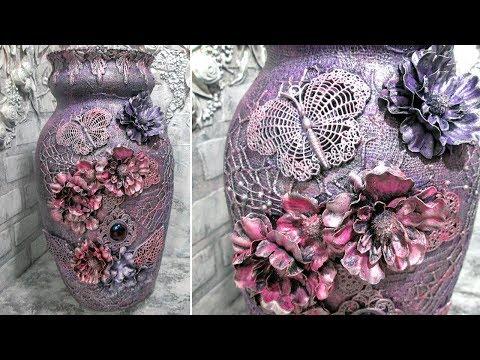 Шикарный декор вазы в смешанной технике