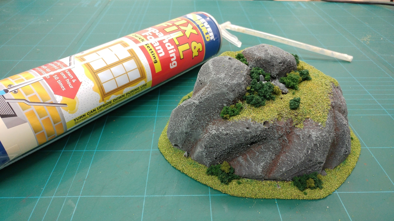 Cheap easy expanding foam wargaming hills rock for Rocks all insulation