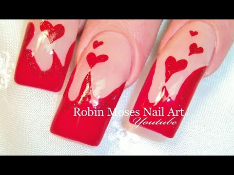 Long Red Nails with Hearts | Sexy Valentine's Day Nail Art Design Tutorial