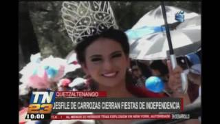 Desfile de carrozas cierran fiestas de independencia en Quetzaltenango