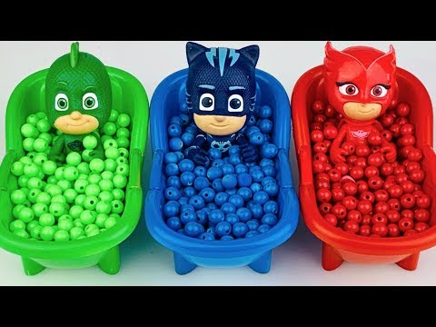 Pj Masks Toys Wrong Heads Learn Colors With Bathtubs And Beads Colorful Finger Paints